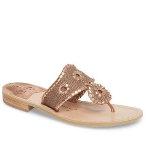 NWT JACK ROGERS Isla Biscuit/Rose Gold Sandal